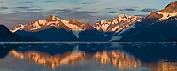 Panorama of the Sunrise on the Chugach mountains and Surprise glacier, Barry Arm, Prince William Sound, Alaska