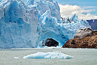 Glacier Perito Moreno forms a bridge of ice with the oppsite shore of Lago Argentina, effectively dividing the lake into 2.