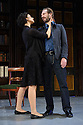 London, UK. 24.02.2015. MAN AND SUPERMAN, directed by Simon Godwin, opens in the Lyttelton, at the National Theatre. Picture shows: Indira Varma (Ann Whitefield) and Ralph Fiennes (Jack Tanner). Photograph © Jane Hobson.