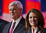 Michelle Bachmann and Newt Gingrich..Eight republican candidates for US President face off at a debate held at the Ronald Reagan Library. The debate was sponsored by NBC News and POLITICO, and was moderated by Brian Williams, anchor of NBC Nightly News.