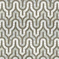 Kasbah, a hand-cut stone mosaic, shown  in Driftwood, Calacatta Tia, and Thassos.