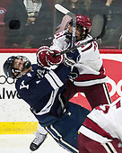 Andrew Gans (Yale - 11), Luke Esposito (Harvard - 9) - The Harvard University Crimson defeated the Yale University Bulldogs 6-4 in the opening game of their ECAC quarterfinal series on Friday, March 10, 2017, at Bright-Landry Hockey Center in Boston, Massachusetts.