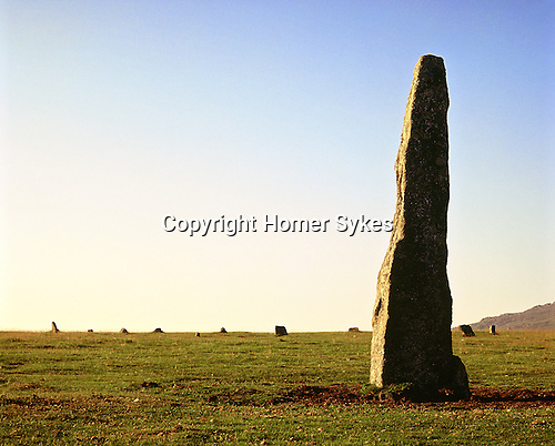 Merrivale Menhir and Stone Circle, Dartmoor, Devon England. Celtic Britain published by Orion