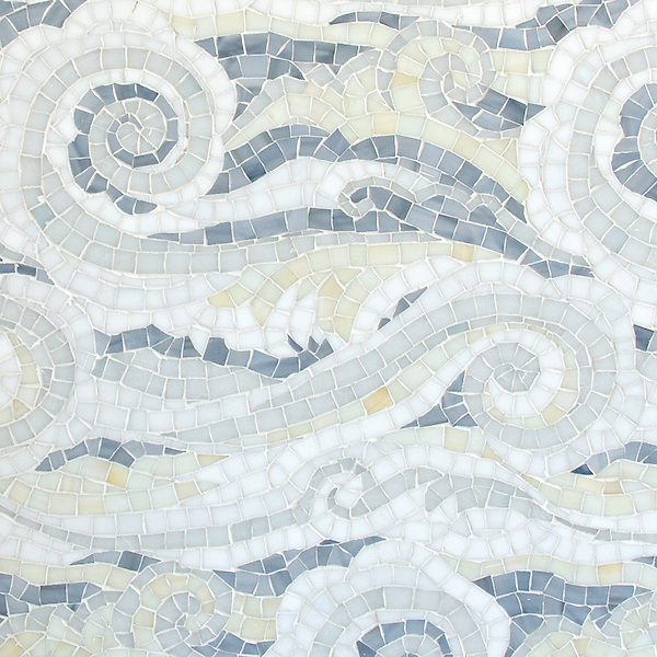 Tempest, a handmade mosaic shown in Opal, Quartz, Pearl, Absolute White, and Moonstone Sea Glass&trade;, is part of the Sea Glass&trade; Collection by Sara Baldwin for New Ravenna. <br /> Ready to take the next step? For pricing, samples and design help, please click here : http://www.newravenna.com/showrooms/