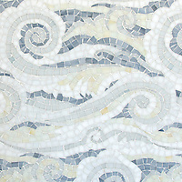 Tempest, a handmade mosaic shown in Opal, Quartz, Pearl, Absolute White, and Moonstone Sea Glass&trade;, is part of the Sea Glass&trade; Collection by Sara Baldwin for New Ravenna. <br />