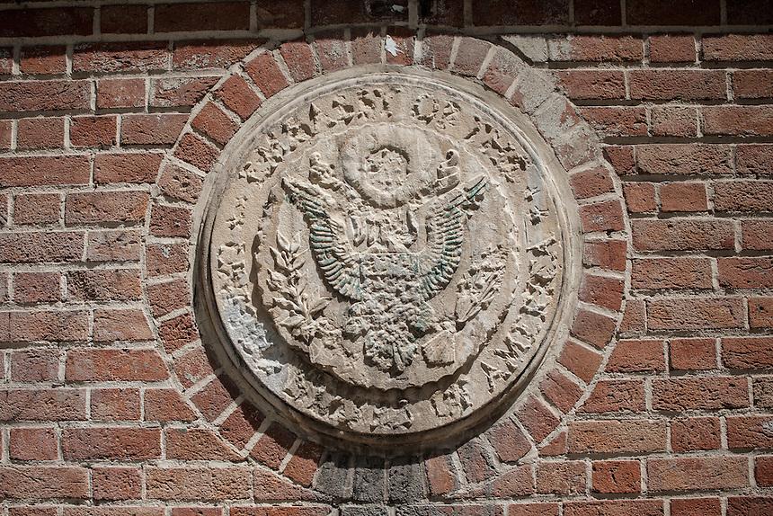 Defaced U.S emblem at ex U.S Embassy (now called as Den of Espionage) of Tehran.