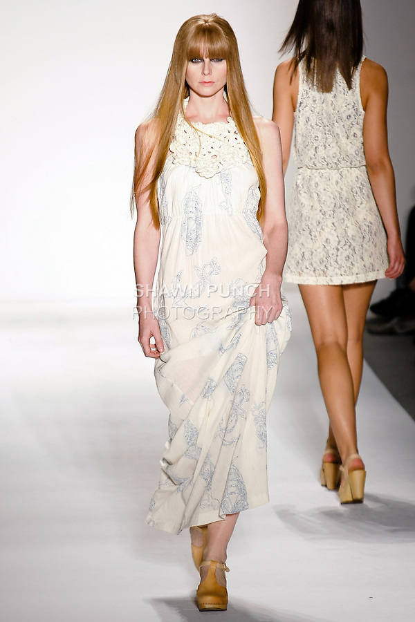 "Model walks the runway in an outfit by Paola Ivana Suhonen, for the IVANAhelsinki Spring Summer 2011 ""Where The F**k Is My Sailor"" collection fashion show, during Mercedes-Benz Fashion Week; September 16, 2010."