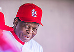4 March 2013: St. Louis Cardinals Hall of Fame outfielder Lou Brock chats in the dugout during a Spring Training game against the Minnesota Twins at Roger Dean Stadium in Jupiter, Florida. The Twins shut out the Cardinals 7-0 in Grapefruit League play. Mandatory Credit: Ed Wolfstein Photo *** RAW (NEF) Image File Available ***