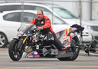 Feb 10, 2017; Pomona, CA, USA; NHRA top fuel nitro Harley rider Tii Tharpe during qualifying for the Winternationals at Auto Club Raceway at Pomona. Mandatory Credit: Mark J. Rebilas-USA TODAY Sports