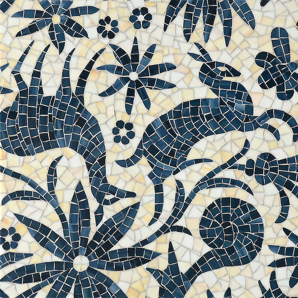Otomi, a jewel glass mosaic, shown in Agate and Marcasite, is part of the Kiddo Collection by Cean Irminger for New Ravenna.