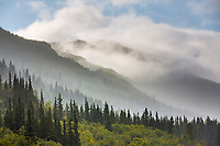 Mist and rain diffuse the layered mountains of the Alaska range at the entrance to Denali Nationa lPark, Alaska