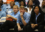 "13 October 2006: UNC Women's basketball head coach Sylvia Hatchell (l) with assistant coaches Andrew Calder and Tracey Williams-Johnson (r). The University of North Carolina at Chapel Hill Tarheels held their first Men's and Women's basketball practices of the season as part of ""Late Night with Roy Williams"" at the Dean E. Smith Center in Chapel Hill, North Carolina."