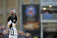 Ashley Johnson of Wasps looks to throw into a lineout. European Rugby Champions Cup match, between Bath Rugby and Wasps on December 19, 2015 at the Recreation Ground in Bath, England. Photo by: Patrick Khachfe / Onside Images