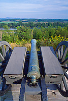 Saratoga National Historic Park, Saratoga, New York, Cannon overlooking Hudson RIver