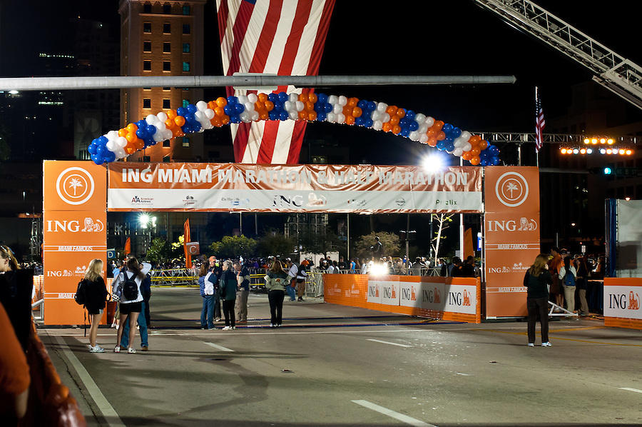 MIAMI, FL - JANUARY 30: People gathering around the starting line in the ING Miami Marathon, January 30, 2011 in Miami, Florida.