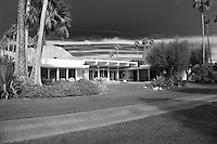 Black and White image of A. Quincy Jones designed mid-century home Stock photo of Frank Capra's A. Quincy Jones designed mid-century home in La Quinta, California