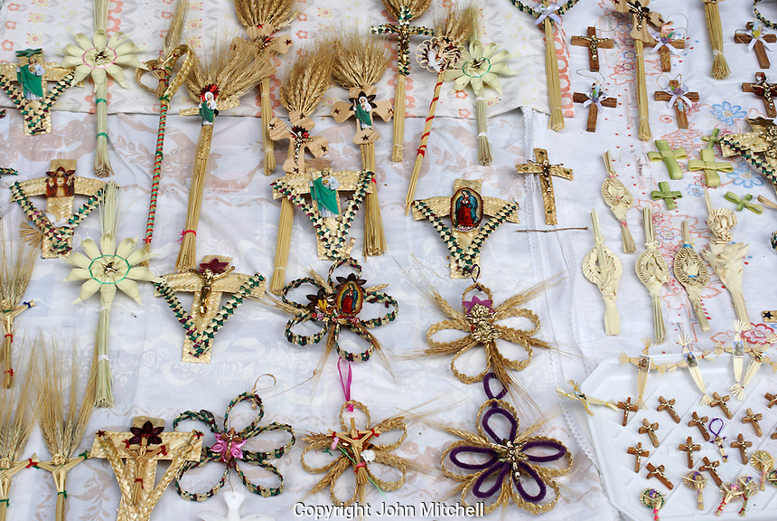 Palm Sunday crosses for sale outside a church in Mexico City