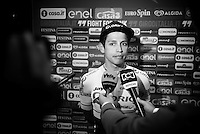 Johan Esteban Chaves (COL/Orica-GreenEDGE) being interviewed ahead of the Grande Partenza in Apeldoorn (NLD): team presentation of the 99th Giro d'Italia 2016 on the evening before the 1st stage
