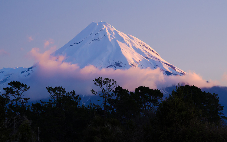 Mount Taranaki (Egmont), sunset, North Island, New Zealand - stock photo, canvas, fine art print