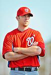 24 February 2012: Washington Nationals' pitcher Brad Lidge waits for warm ups at the Carl Barger Baseball Complex in Viera, Florida. Mandatory Credit: Ed Wolfstein Photo