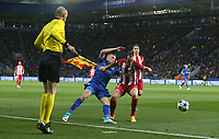Leicester City's Jamie Vardy and Atletico Madrid's Diego Godin<br /> <br /> Photographer Stephen White/CameraSport<br /> <br /> UEFA Champions League Quarter Final Second Leg - Leicester City v Atletico Madrid - Tuesday 18th April 2017 - King Power Stadium - Leicester <br />  <br /> World Copyright &copy; 2017 CameraSport. All rights reserved. 43 Linden Ave. Countesthorpe. Leicester. England. LE8 5PG - Tel: +44 (0) 116 277 4147 - admin@camerasport.com - www.camerasport.com