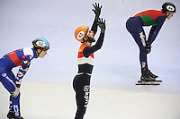 SHORT TRACK: TORINO: 15-01-2017, Palavela, ISU European Short Track Speed Skating Championships, Final Relay Men, Team Russia, Team Netherlands, Finish, Semen Elistratov (RUS), Sjinkie Knegt (NED), ©photo Martin de Jong