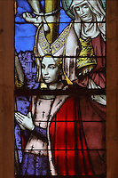 Isabella of Portugal with her saint, detail from the stained glass window, 15th century, in the Chapel, in the Salle des Povres or Room of the Poor, in Les Hospices de Beaune, or Hotel-Dieu de Beaune, a charitable almshouse and hospital for the poor, built 1443-57 by Flemish architect Jacques Wiscrer, and founded by Nicolas Rolin, chancellor of Burgundy, and his wife Guigone de Salins, in Beaune, Cote d'Or, Burgundy, France. The hospital was run by the nuns of the order of Les Soeurs Hospitalieres de Beaune, and remained a hospital until the 1970s. The building now houses the Musee de l'Histoire de la Medecine, or Museum of the History of Medicine, and is listed as a historic monument. Picture by Manuel Cohen