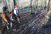 NWA Democrat-Gazette/FLIP PUTTHOFF <br /> Noah Sanders, a University of Arkansas student (left) and Mark Clippinger, superintendent, look at glade restoration progress Feb. 15 2017 at Hobbs State Park-Conservation Area.
