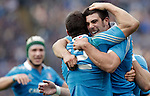 Rugby: test match Italia vs Nuova Zelanda. Roma, stadio Olimpico, 17 novembre 2012..Italy's Alberto Sgarbi is hugged by teammate Edoardo Gori, right, after scoring a try during an international rugby test match between Italy and New Zealand at Rome's Olympic stadium, 17 November 2012..UPDATE IMAGES PRESS/Riccardo De Luca