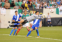 Gutemala goalkeeper Ricardo Jerez dives to makje a save.  Mexico defeated Guatemala 2-1 in the quaterfinals for the 2011 CONCACAF Gold Cup , at the New Meadowlands Stadium, Saturday June 18, 2011.