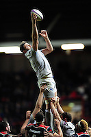 Elliott Stooke of Bath Rugby wins the ball at a lineout. European Rugby Challenge Cup match, between Bristol Rugby and Bath Rugby on January 13, 2017 at Ashton Gate Stadium in Bristol, England. Photo by: Patrick Khachfe / Onside Images