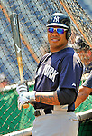16 June 2012: New York Yankees outfielder Andruw Jones awaits his turn in the batting cage prior to a game against the Washington Nationals at Nationals Park in Washington, DC. The Yankees defeated the Nationals in 14 innings by a score of 5-3, taking the second game of their 3-game series. Mandatory Credit: Ed Wolfstein Photo