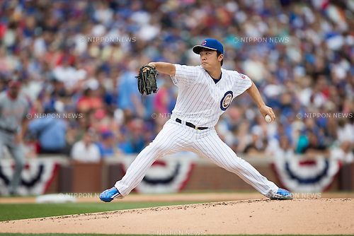 Tsuyoshi Wada (Cubs),<br /> MAY 25, 2015 - MLB :<br /> Tsuyoshi Wada of the Chicago Cubs pitches during the Major League Baseball game against the Washington Nationals at Wrigley Field in Chicago, Illinois, United States. (Photo by Thomas Anderson/AFLO) (JAPANESE NEWSPAPER OUT)