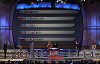 Group C is shown on the display during the FIFA Final Draw for the FIFA World Cup 2010 South Africa held at the Cape Town International Convention Centre (CTICC) on December 4, 2009.
