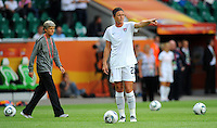 Abby Wambach (r) and coach Pia Sundhage of team USA during the FIFA Women's World Cup at the FIFA Stadium in Wolfsburg, Germany on July 6thd, 2011.