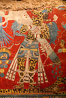 Copy of mural depicting a warrior wearing jaguar skins from the Cacaxtla archaeological site in the state of Tlaxcala, National Museum of Anthropology, Chapultepec Park, Mexico City