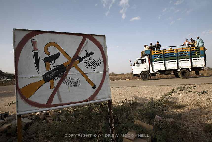 A signpost declares a 'Gun Free Zone' on the road to Burao, Somaliland.