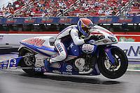 Apr. 28, 2013; Baytown, TX, USA: NHRA pro stock motorcycle rider Hector Arana Jr during the Spring Nationals at Royal Purple Raceway. Mandatory Credit: Mark J. Rebilas-