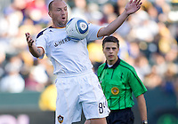 LA Galaxy forward Clint Mathis (84) traps a ball. The LA Galaxy defeated Boca Juniors 1-0 at Home Depot Center stadium in Carson, California on Sunday May 23, 2010.  .