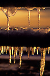Winter scene with icicles hanging from park bench at sunset West Seattle park along Alki Seattle Washington State USA