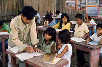 School in Shipibo village on shores of Ucayali River, Peru. Shipibo language belongs to the Panoan family.