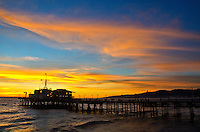 Santa Monica Pier amid the sunset on Monday, January 7, 2013.