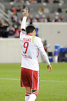 Juan Pablo Angel (9) of the New York Red Bulls celebrates scoring his second goal of the game. The New York Red Bulls defeated FC Dallas 2-1 during a Major League Soccer (MLS) match at Red Bull Arena in Harrison, NJ, on April 17, 2010.
