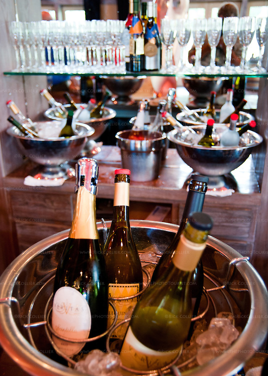 White wines on ice await tasting on the bar at Veritas Vineyards.