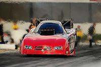 Feb. 24, 2011; Pomona, CA, USA; NHRA funny car driver Gary Densham during qualifying for the Winternationals at Auto Club Raceway at Pomona. Mandatory Credit: Mark J. Rebilas-