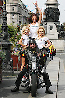 1/9/2010. RADIO NOVA LAUNCH.Nikita Hanny, Jennifer Healy and Biker John Delaney and dancer Ruth Melody are pictured on the O Connell Bridge Dublin for the launch of radio Nova.Picture James Horan/Colins