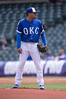 Jair Jurrjens (15) of the Oklahoma City Dodgers looks for a call from the catcher in a game against the Iowa Cubs at Chickasaw Bricktown Ballpark on April 9, 2016 in Oklahoma City, Oklahoma.  Oklahoma City defeated Iowa 12-1 (William Purnell/Four Seam Images)