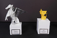 Pegasus and Cat origami designed and folded by Paul Frasco, New York, USA