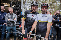 cobble legends Johan Museeuw & Peter Van Petegem (9 Flanders/Roubaix wins among them!) ahead of the Tom Boonen farewell race/criterium 'Tom Says Thanks!' in Mol/Belgium