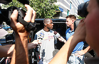 PITTSBURGH - JULY 26:  A day after the NFL lockout ended, Antonio Brown #84 of the Pittsburgh Steelers talks to members of the media outside of his car while reporting to the South Side training facility on July 26, 2011 in Pittsburgh, Pennsylvania.  (Photo by Jared Wickerham/Getty Images)